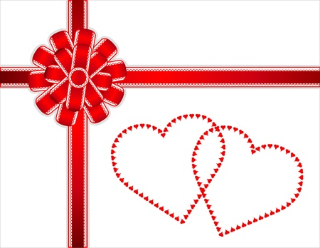 Two Hearts Gift. Lace edged red satin bow, ribbon, two hearts. Copy space.  Vector