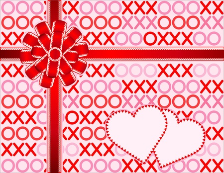 edged: Hugs and Kisses Gift. Lace edged red satin bow, ribbon, two hearts. Copy space for Valentines Day.