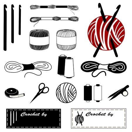 크로 셰 뜨개질, 태팅 레이스를 만들기위한 크로 셰 뜨개질의 아이콘 : 걸이, 치실, 실, 원사, 줄자, 보빈, 실 클립, 자수 가위, 바느질 레이블.