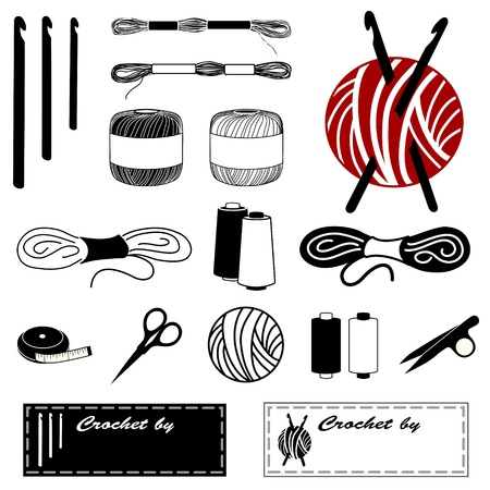 yarns: Crochet Icons for crochet, tatting, making lace: hooks, floss, thread, yarn, tape measure, bobbins, thread clips, embroidery scissors, sewing labels. Illustration