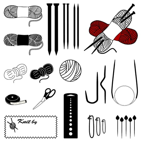 yarns: Knitting Icons. Tools and supplies for flat, circular and cable knitting: double-pointed needles, circular and cable needles, stitch holders, marker pins, gauge, sewing label.