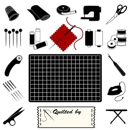 Quilting Icons for quilting, patchwork, applique, trapunto.  Stock Illustratie