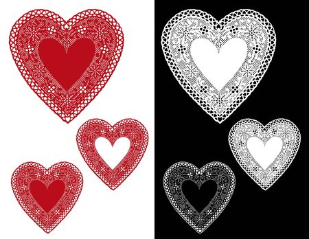 Vintage Red, White, Black Lace Heart Doilies with copy space for Valentines Day, holidays. Vector
