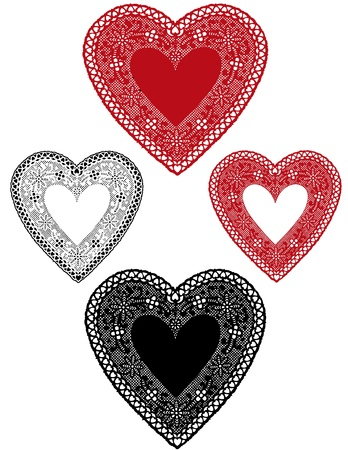 Vintage Red, Black Lace Heart Doilies with copy space for Valentines Day, holidays.  矢量图像