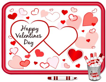 Happy Valentines Day, big red hearts background, copy space, whiteboard, marker pens. Stock Vector - 11553652