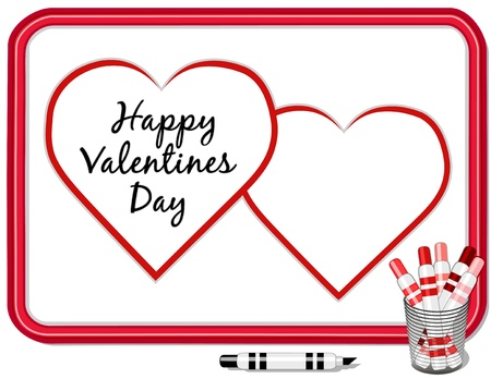 Happy Valentines Day, big red hearts with copy space, whiteboard, marker pens. Stock Vector - 11553651