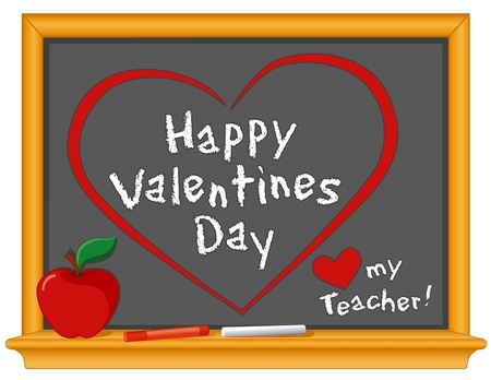 Happy Valentines Day, Love My Teacher greetings, red hearts on wood frame blackboard, red apple and chalk.  Ilustração