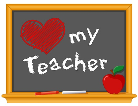 Love My Teacher and big red heart drawing on wood frame blackboard, red apple and chalk. Vector
