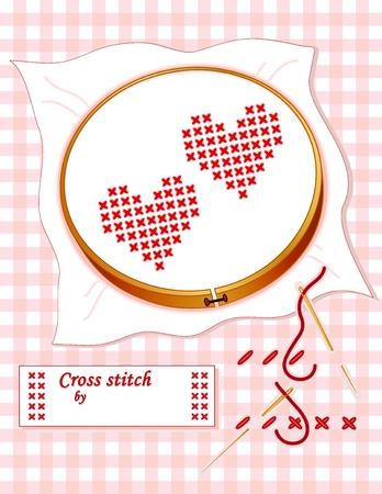 punto croce: Come il punto croce. Due cuori rossi, cerchio di legno, ricami a punto croce demo, ago d'oro, filo per cucire, etichetta con copia spazio, pastello sfondo gingham.
