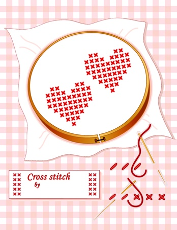 How to Cross Stitch. Two red hearts, wooden embroidery hoop, cross stitch demo, gold needle, thread, sewing label with copy space, pastel gingham background. Vector