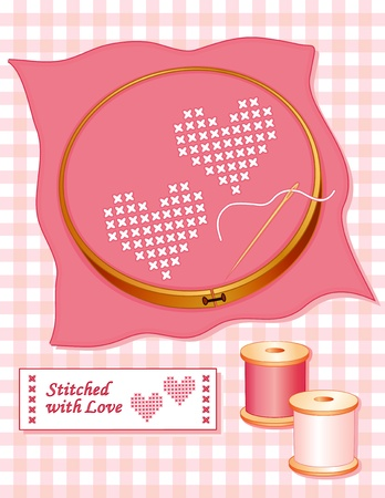 Love Hearts, cross stitch embroidery, rose colored cloth in a wooden embroidery hoop, gold needle, spools of thread, sewing label, pastel gingham background.
