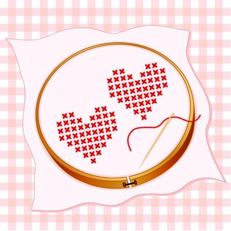 punto cruz: Corazones de San Valentín, el bordado de punto de cruz de tela blanca, bastidor de bordado de madera, en colores pastel de fondo guinga, aguja de oro e hilo.