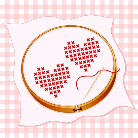 red gingham: Valentine Hearts, cross stitch embroidery on white fabric, wooden embroidery hoop, pastel gingham background, gold needle and thread.