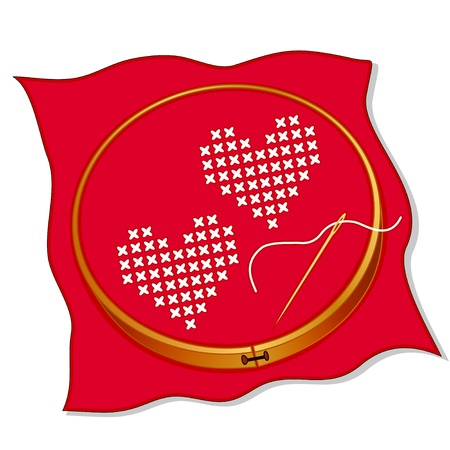 stitches: Two Hearts, cross stitch embroidery on valentine red fabric, wooden embroidery hoop, needle and thread, isolated on white...