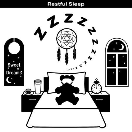 restful: Restful Sleep Symbols: Teddy bear, comfortable bed, pillow, sleeping mask, ZZZs, dream catcher, moon and stars, sweet dreams door hanger.  Illustration