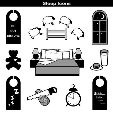 sleep: Sleep Icons: Teddy bear, bed, milk, cookies, alarm, clock, sleep mask,  counting sheep, starry night, door hangers, dream catcher, window, moon, stars, night, and pillow.  Illustration