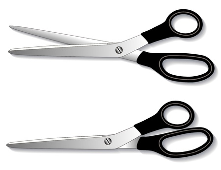 Dressmaker Shears: long bladed scissors for sewing, tailoring, home decorating, quilting, textile arts, crafts, do it yourself projects.  Vector