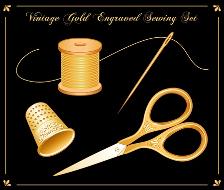 Vintage Gold Engraved Sewing Set: embroidery scissors, thimble, needle, gold thread, for sewing, tailoring, quilting, needlework, textile arts, do it yourself projects.  Vector