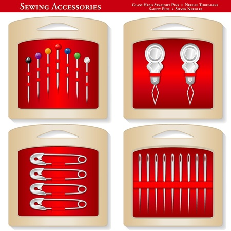 Sewing Accessories: glass bead straight pins, needle threaders, safety pins, silver needles on red display cards for sewing, tailoring, quilting, embroidery, needlework, crafts, do it yourself projects.  Vector
