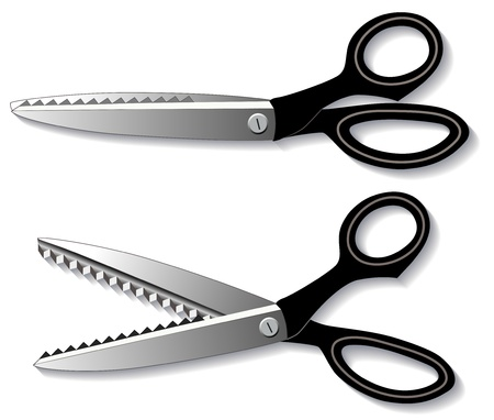 Pinking Shears (scissors) for sewing, tailoring, quilting, home decorating, textile arts, crafts, do it yourself projects.  Vector