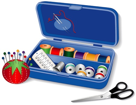 Sewing Box: needles, threads, bobbins, silver thimble, strawberry pincushion, straight pins, safety pins, dressmaker scissors.  Vector