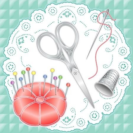 antique scissors: Argento Vintage cucire Set: incisione forbici da ricamo, ditale, ago, filo, cuscino di raso rosa, perline di vetro spine dritte su antico pizzo bianco centrino, trapuntato, tessuto di fondo aqua.