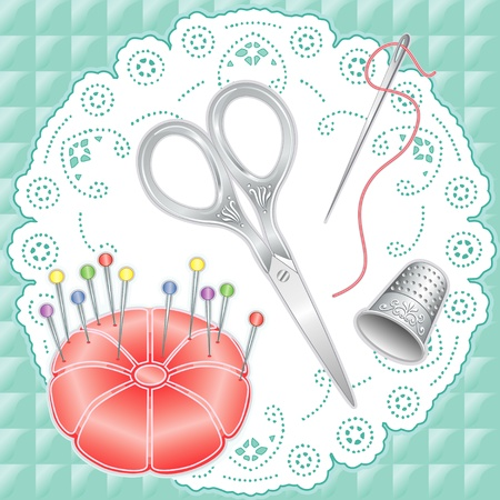 Vintage Silver Sewing Set: engraved embroidery scissors, thimble, needle, thread, pink satin pincushion, glass bead straight pins on antique white lace doily, quilted aqua fabric background. Vector