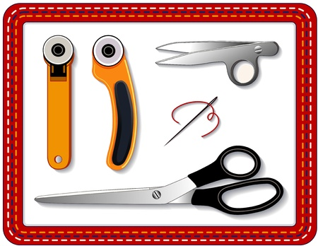 Quilting Tools: rotary blade cutters, thread clips, scissors, needle, thread for sewing, quilting, crafts, stitched border frame. Stock Vector - 11837256