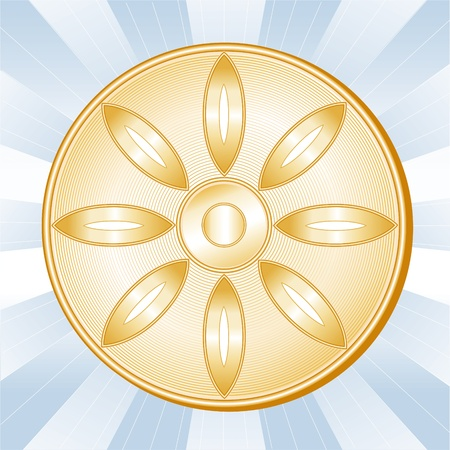Buddhism Symbol, Lotus blossom, wheel of Dharma, golden icon of Buddhist faith on a sky blue ray background. Stock Vector - 11837268