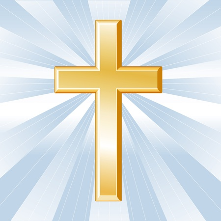 christian symbol: Christianity Symbol, Golden Cross, Crucifix, icon of Christian faith on a sky blue background with rays.  Illustration