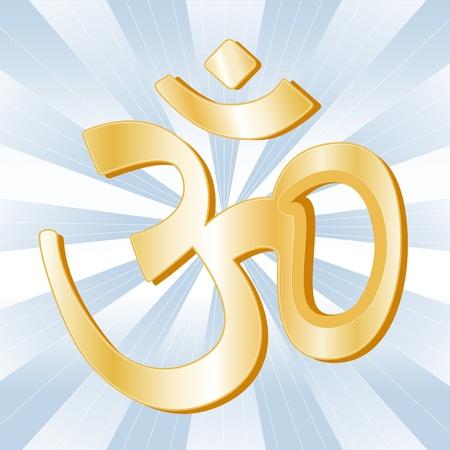 vedic: Hindu Symbol, Golden Aumkar, icon of Hindu faith on a sky blue ray background.