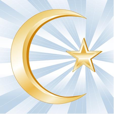 イスラム教記号、黄金の三日月および星、光線と空色の背景のイスラム信仰のアイコン。  イラスト・ベクター素材