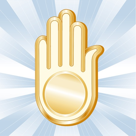 Jain Symbol. Golden Ahimsa, icon of the Jain faith on a sky blue background with rays. Vector