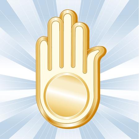 jain: Jain Symbol. Golden Ahimsa, icon of the Jain faith on a sky blue background with rays. Illustration