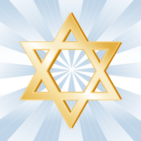 Judaism Symbol, Golden Star of David, icon of the Jewish faith on a sky blue background with rays.  Vector