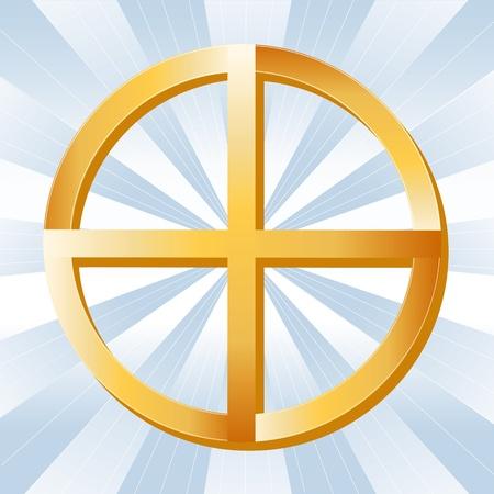 Native American Spirituality Symbol, Golden Medicine Wheel, on a sky blue ray background. Stock Vector - 11837257
