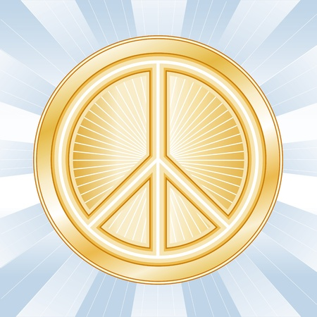 Peace Symbol, International icon of peace and nonviolence on earth, on a sky blue ray background.