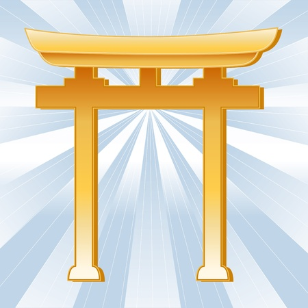 Shinto Symbol, Golden Torii Gate, icon of Shinto faith on a sky blue background with rays.  Vector