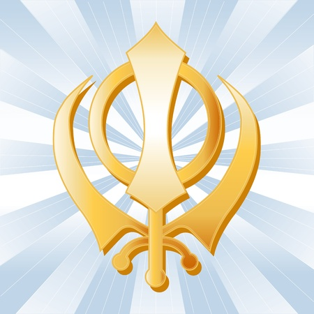 sikhism: Sikh Symbol, Golden Khanda, icon of the Sikh faith on a sky blue ray background.  Illustration