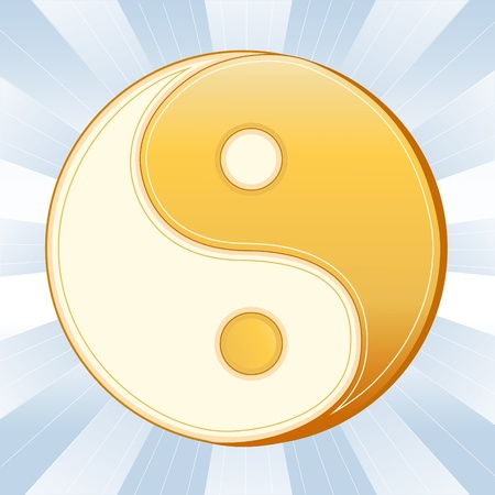 chinese philosophy: Taoism Symbol, Golden Yin Yang Mandala, icon of Tao faith on a sky blue ray background.  Illustration