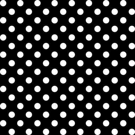Seamless Pattern, Big White Polka dots on Black.