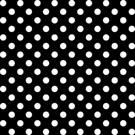 Seamless Pattern, Big White Polka dots on Black. Vector