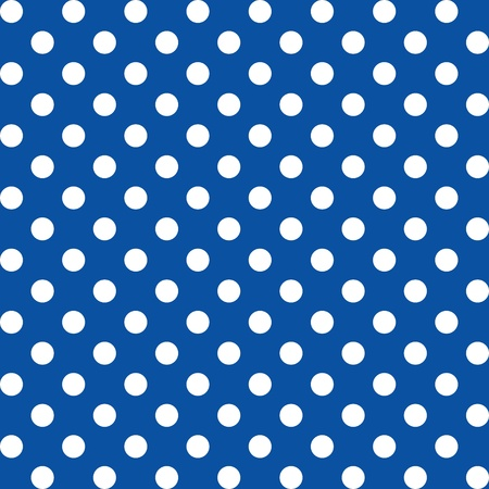 repetition dotted row: Seamless Pattern, Big White Polka dots on Blue.  Illustration