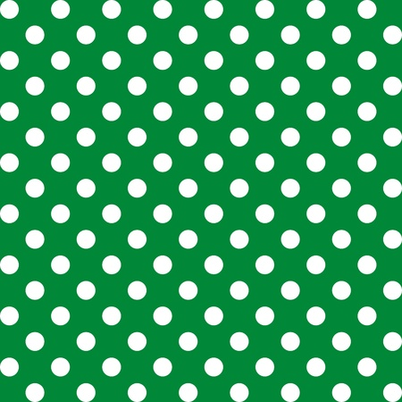 repetition dotted row: Seamless Pattern, Big White Polka dots on Green.