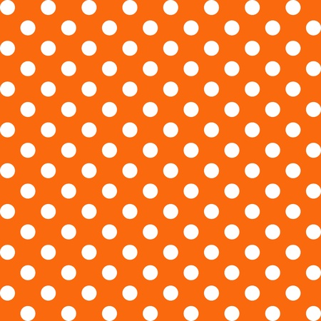 repetition dotted row: Seamless Pattern, Big White Polka dots on Orange.  Illustration
