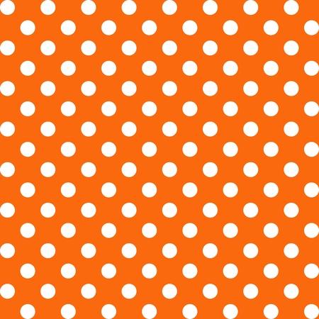 Seamless Pattern, Big White Polka dots on Orange.  Vector