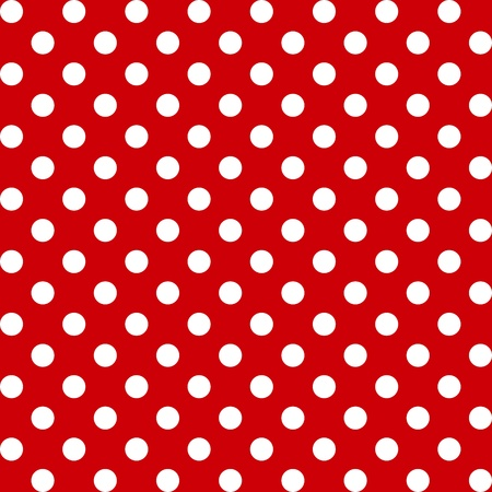 repetition dotted row: Seamless Pattern, Big White Polka dots on Red.  Illustration