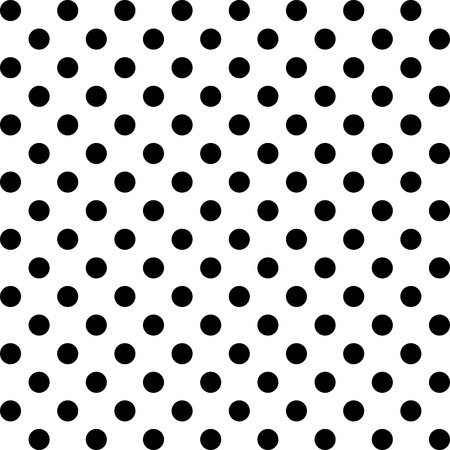 Seamless Pattern, Big Black Polka dots on White.