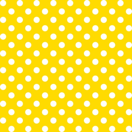 repetition dotted row: Seamless Pattern, Big White Polka dots on Yellow.
