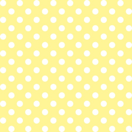 Seamless pattern, big white polka dots, pastel yellow background. includes pattern swatch that will seamlessly fill any shape. For arts, crafts, fabrics, decorating, albums, scrapbooks. Vector